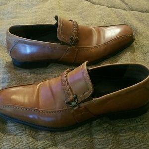 Giorgio Brutini leather tan slip-on shoes.